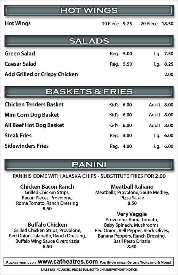 Backstage Pizza Pub Menu - Hot Wings, Salads, Baskets, Fries, Panini