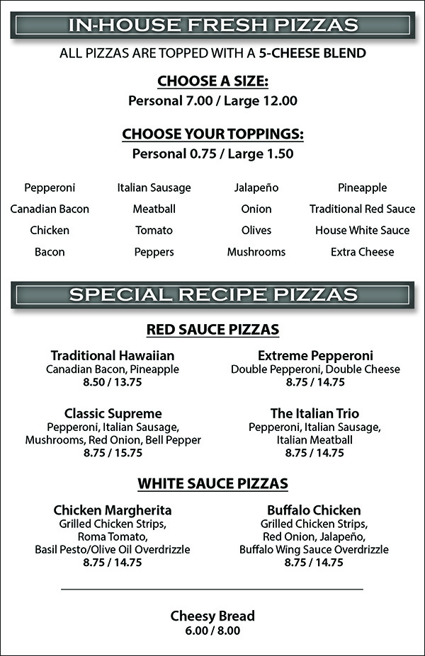 Backstage Pizza Pub Menu - In-House Fresh Pizza, Special Recipe Pizzas