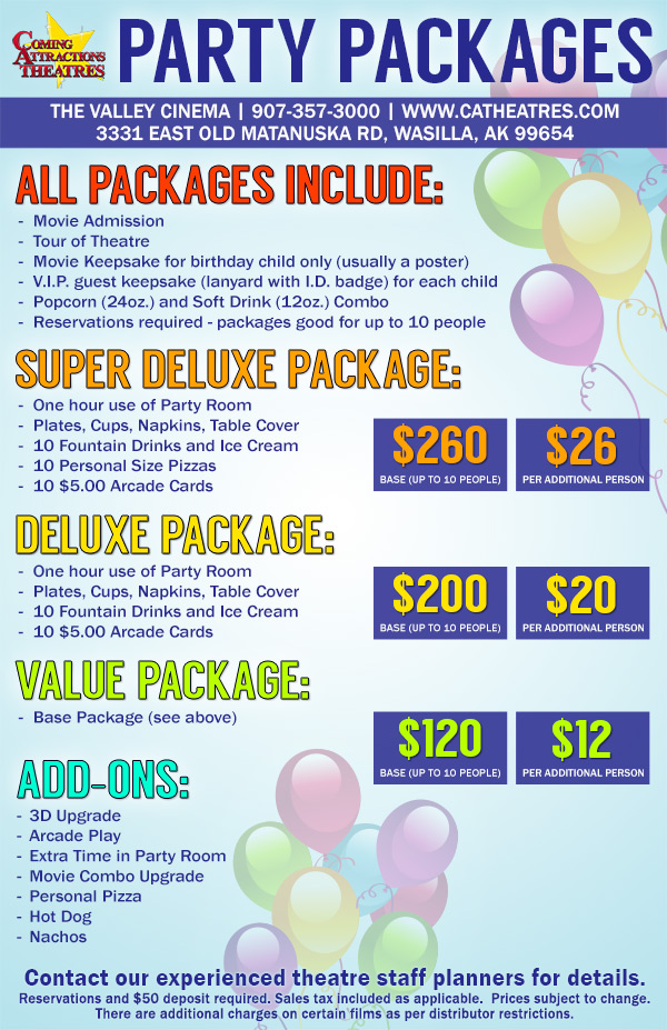 Party Package The Valley Cinema