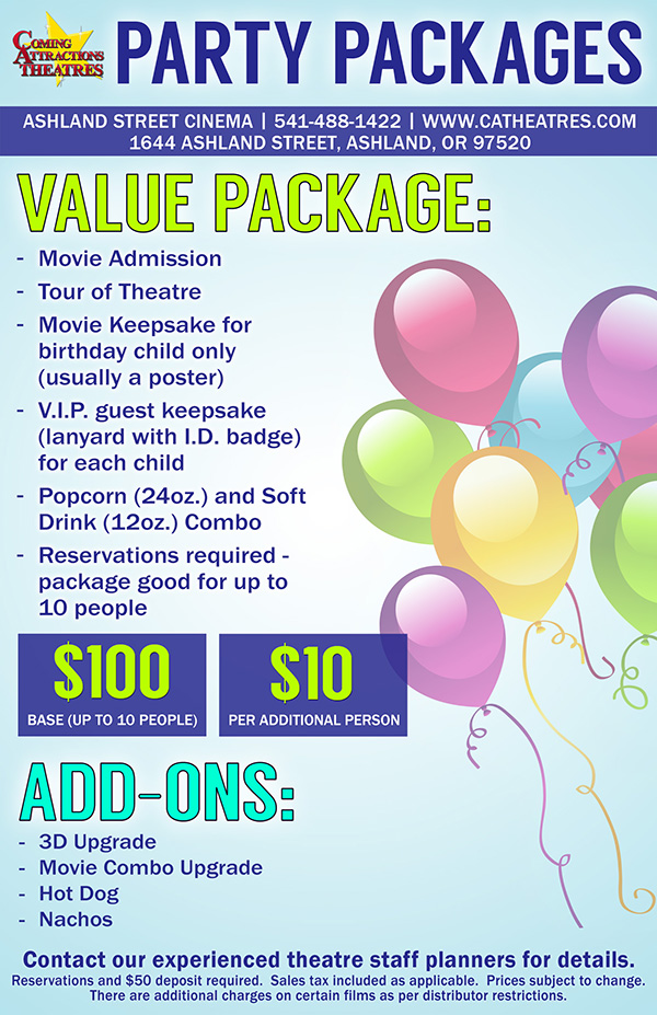 Party Package Ashland Street Cinema
