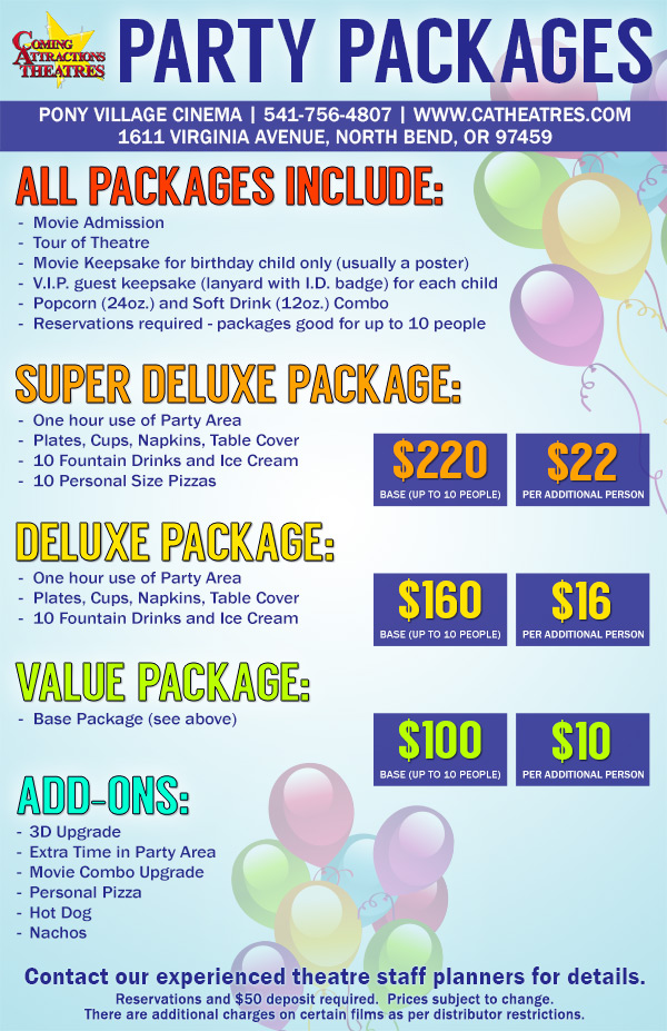 Pony Village Cinema Party Package