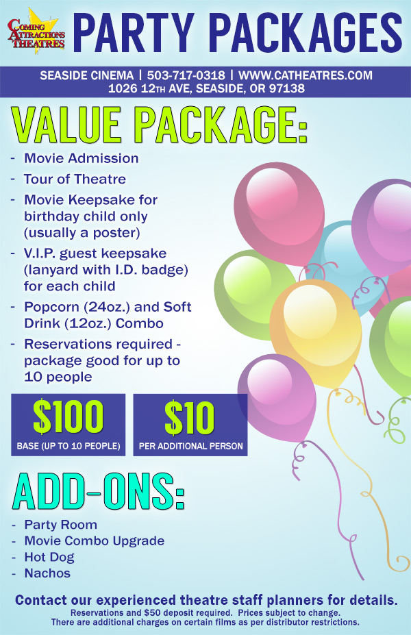 Seaside Cinema Birthday Party Packages